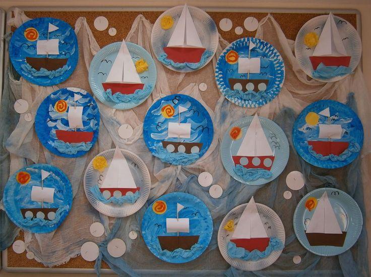 Téma - Voda, kombinovaná technika - papírové talíře, akrylové barvy, barevný papír, barevné ubrousky.