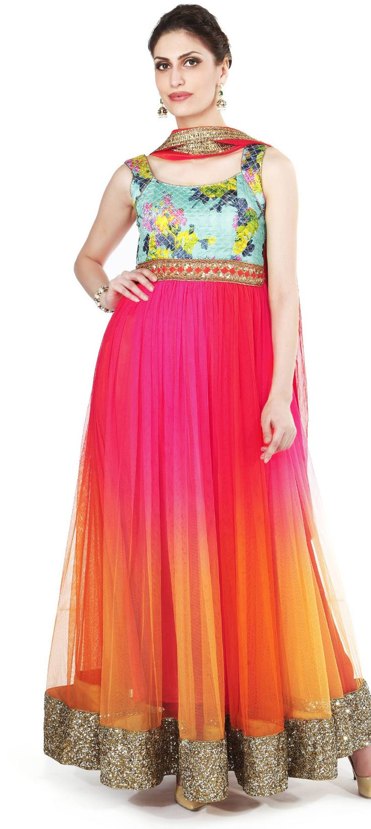 Buy Online from the link below. We ship worldwide (Free Shipping over US$100). Product SKU - 273085.Product Link -  http://www.kalkifashion.com/shaded-anarkali-suit-in-orange-and-pink-adorn-in-sequin-embroidery-only-on-kalki.html