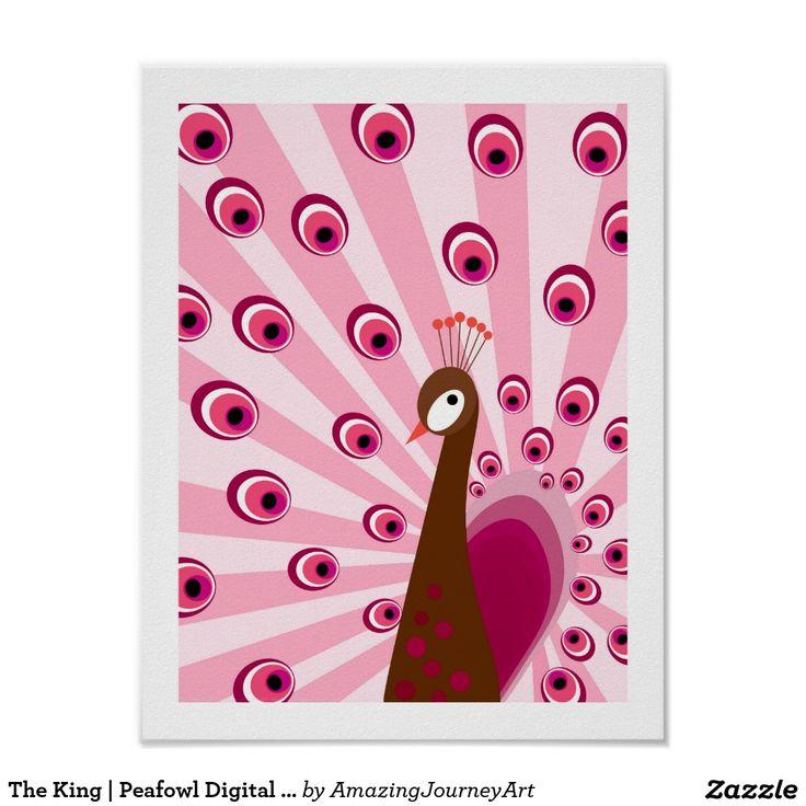 The King | Peafowl Digital Art - Pink Wall Art
