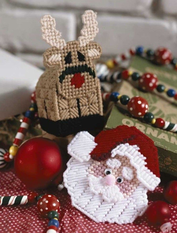 Christmas Characters in Plastic Canvas - So merry! So festive! These 7 plastic canvas projects by MizFitz (the design team of John and Rose Fitzgerald) are the jolliest things you can stitch for Christmas. Make a Santa or reindeer tissue box cover. For the dining table, put Santa's entire sleigh on display. Fashion some very cute ornaments for the tree, or create a panel of Christmas personalities with one of the two character lineups. What a fun way to add more joy to the season!