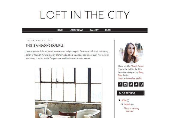 Responsive Blogger Premade Template. Loft in the City template. Blog design. Minimalist elegant template. Sophisticated, fashion, black.