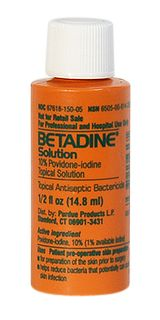 10% povidone iodine antiseptic, doubles as water purification (6 drops/L)