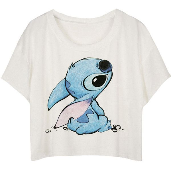 White Loose Stitch Printed Ladies T-shirt (£6.76) ❤ liked on Polyvore featuring tops, t-shirts, shirts, crop tops, disney, white, short sleeve shirts, stitch t shirt, white short sleeve shirt and white crop tee