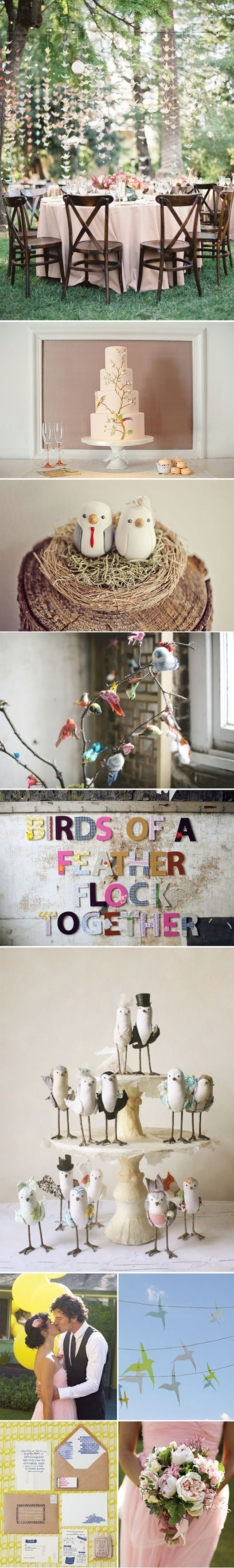 The Birds Theme.  Love the bouquet.  Love the origami bird curtain.  If I started now...