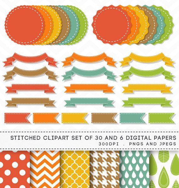 Stitched Digital Banners Ribbons Labels Clipart Clip Art Digital Paper by AzmariDigitals