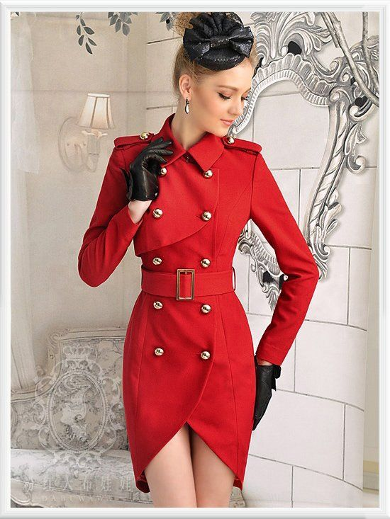 Free shipping new arrival fashion long red trench coat women double  breasted womens coats 2013, - Die Besten 17 Bilder Zu Trench Coat Auf Pinterest Zweireihig