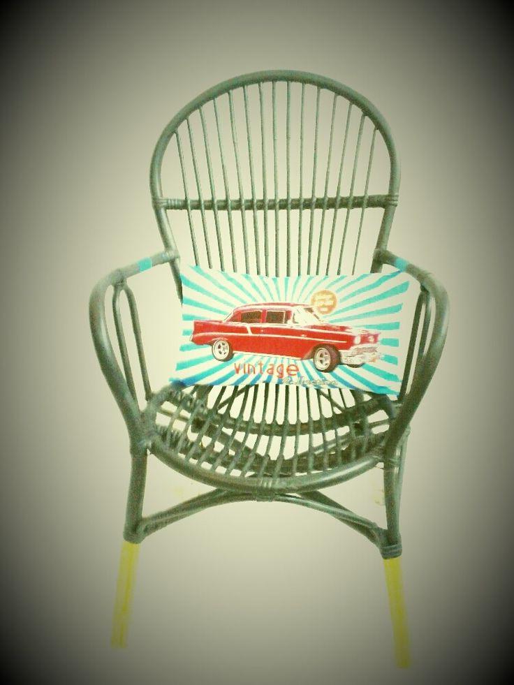 fauteuil vintage en rotin relook vintage. Black Bedroom Furniture Sets. Home Design Ideas