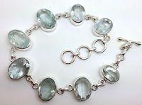 aquamarine faceted Oval bracelet, real natural gemstones, solid Sterling Silver