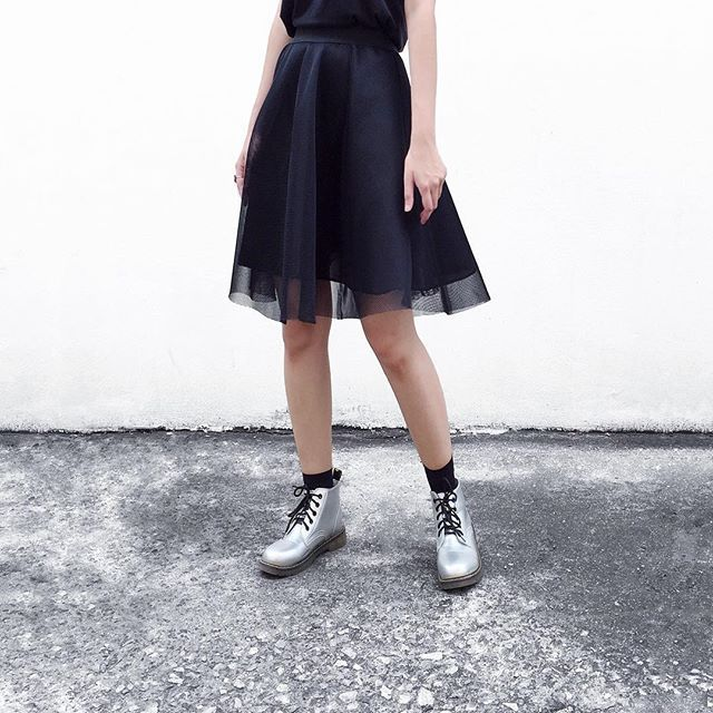 Rocking our Skater Mesh Skirt with a pair of Doc Martens! New design of the week, also available in black at @topshop Oxford Circus.