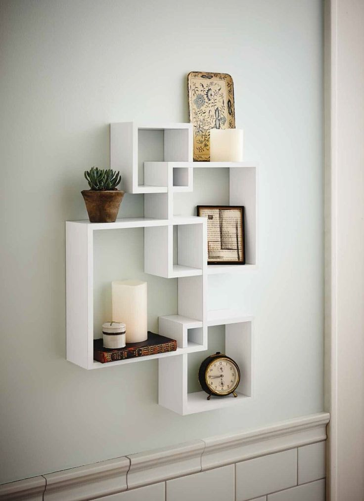 Amazon.com: Shelving Solution Intersecting Wall Shelf With 2 Candles    White (Set
