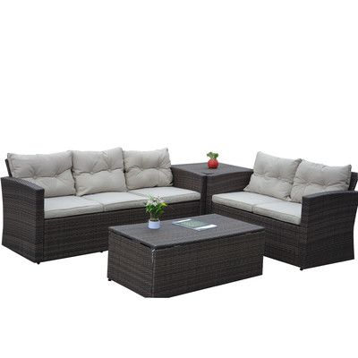 The-Hom Rio 4 Piece Deep Seating Group with Beige Cushions & Reviews | Wayfair