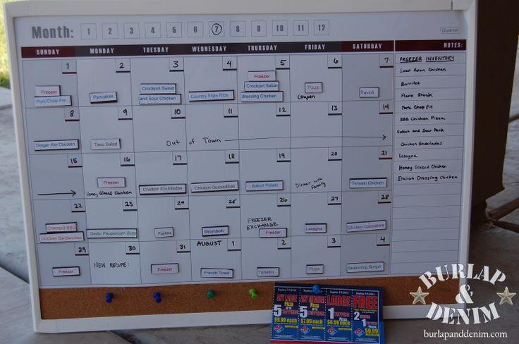 Calendar Planner Board : Completed monthly menu planning calendar on magnetic board