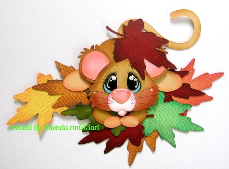 Autumn Fall Mice boy girl paper piecing premade scrapbook page Rhonda rm613art