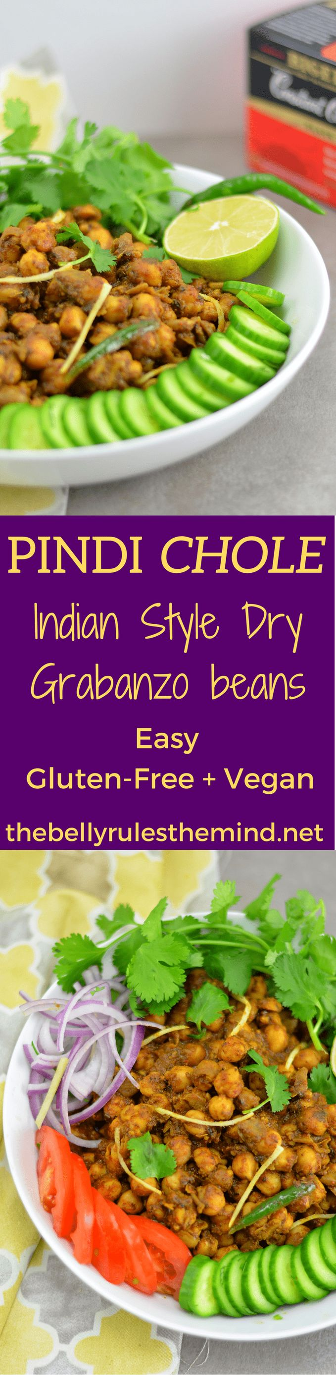This Pindi Chole (Garbanzo beans in Indian spices) recipe is known for its authentic spicy flavors and mild sour taste.  #ad #TeaProudly #CollectiveBias.    @bellyrulesdmind #granbanzo beans #chole #chanamasala