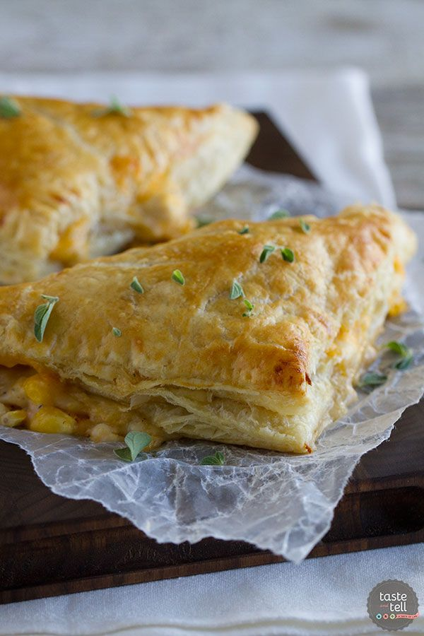 Chicken, corn, cheese and an easy cream sauce are enclosed in puff pastry triangles to make this Creamy Chicken and Corn Turnover Recipe.