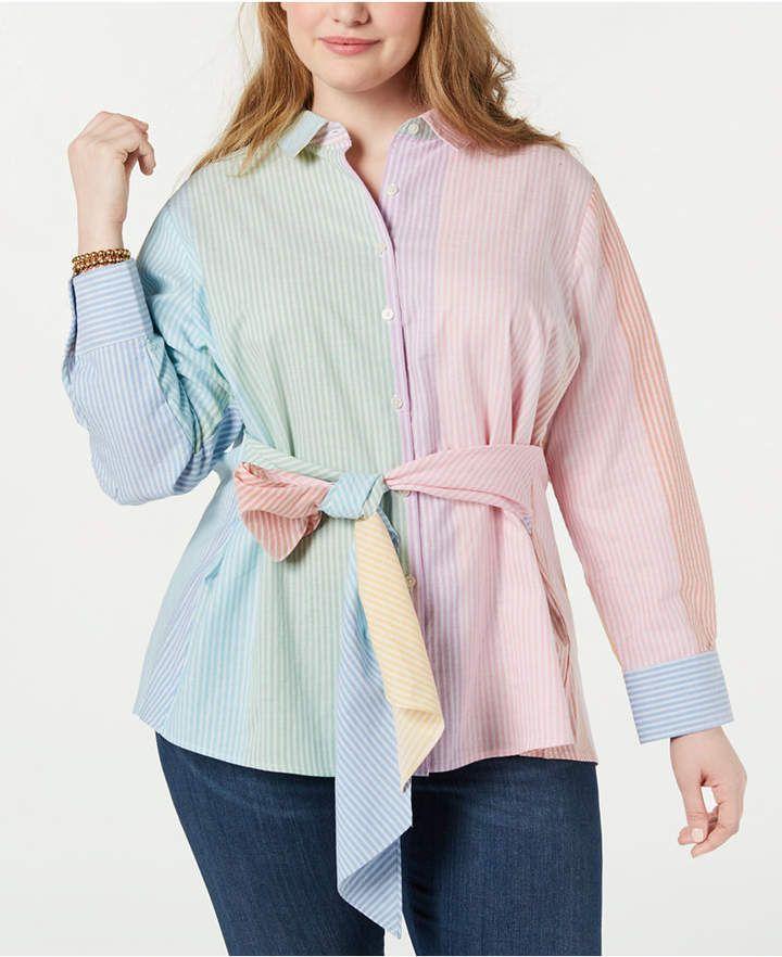 Tommy Hilfiger Plus Size Cotton Multicolor Tie-Waist Shirt