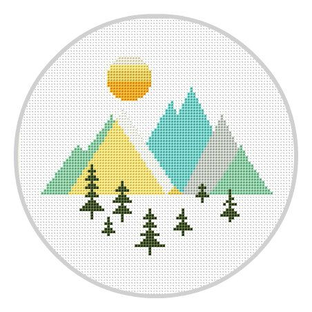 Mountains Geometric Cross Stitch Pattern Geometric Forest Scandinavian Mid Century Woodland cross stitch Modern cross stitch X178 by Xrestyk on Etsy https://www.etsy.com/listing/503728341/mountains-geometric-cross-stitch-pattern