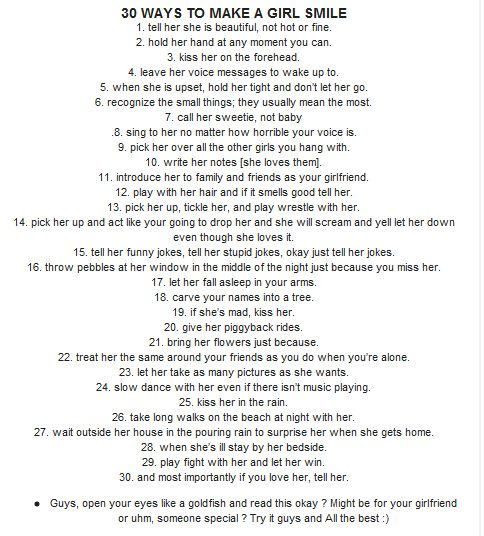 30 Ways To Make A Girl Smile: Girls Happy, Girls Smile, Hopeless Romantic, Stuff, Girls Generation, Boys, Future Husband, Love Quotes, Guys