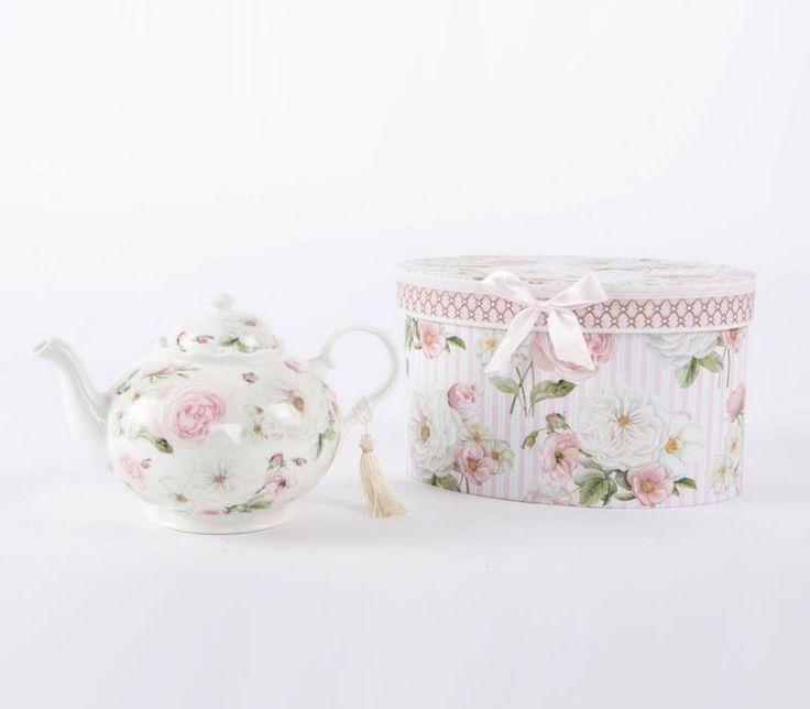 Tetera de porcelana Roses con caja regalo | Artículo Bellossignos