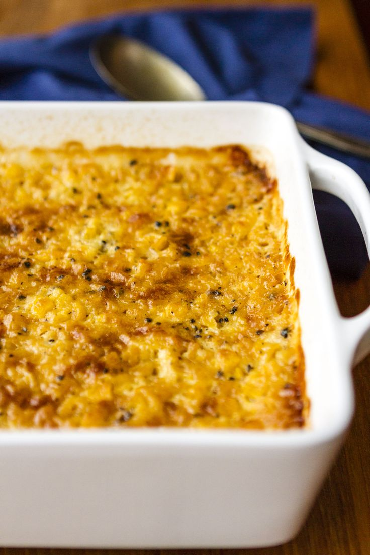 Corn Casserole Recipe -- This creamed corn casserole recipe is SO good you'll want to scrape the dish completely clean to get every last bit of caramelized goodness from the corners! It's on the menu for every family gathering I host… | baked creamed corn casserole | sweet corn casserole | corn casserole from scratch | easy corn casserole recipe | custard corn | corn pudding | find the recipe on unsophisticook.com #christmas #christmasrecipes #sidedishes #corncasserole