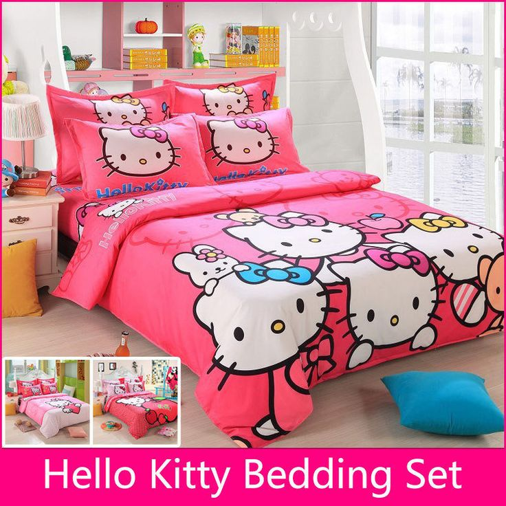 cotton bedding sets cartoon hello kitty bed set duvet cover bed sheet pillowcase soft and comfortable king queen size