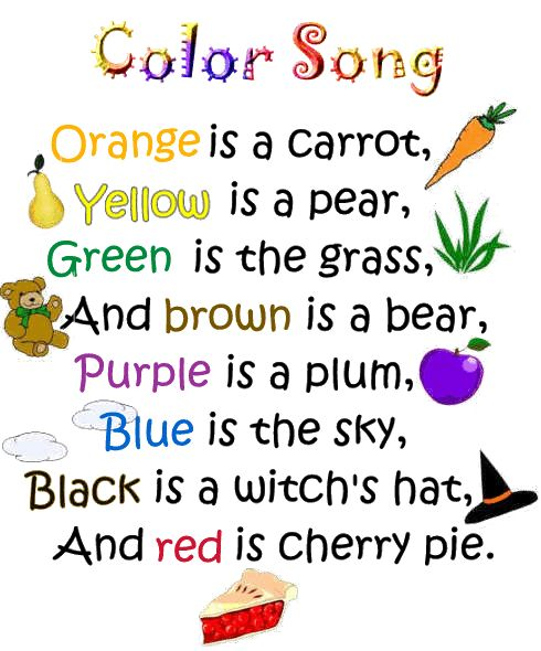 This song helps children remember their colors and it can be interactive if children use matching props. Also, the tune could be decided on by asking the children for their input.