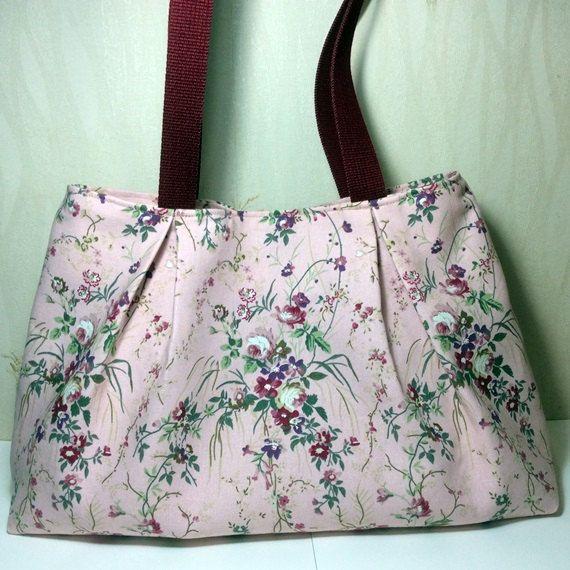 Floral shoulder bag, canvas bag ,pink floral bag