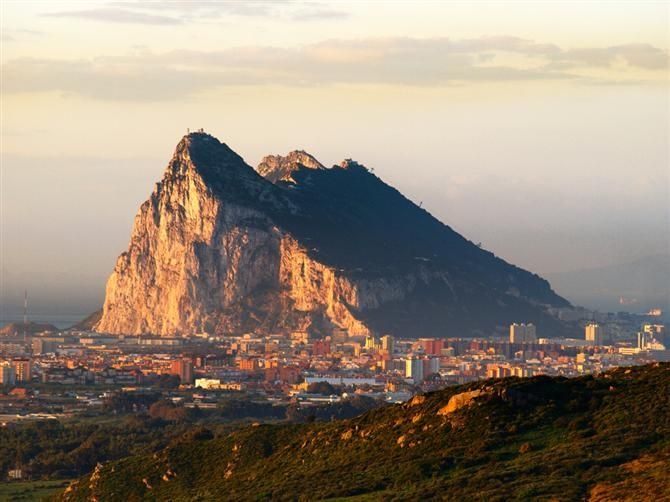 The Rock of Gibraltar, the most famous rock in the world. Gibraltar is situated at the southern end of Europe with a land frontier to Spain on its northern front.