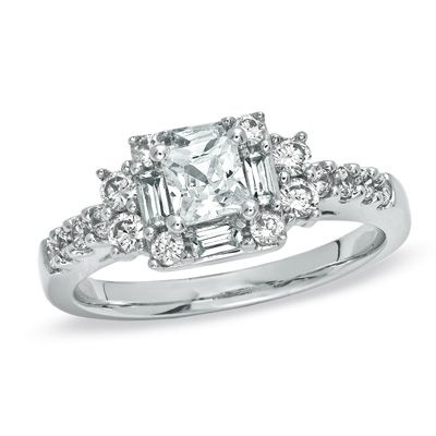 1 CT. T.W. Princess-Cut Diamond Engagement Ring in 14K White Gold. The most beautiful ring on Zales Engagement ring board!! Hoping to win their contest!!!