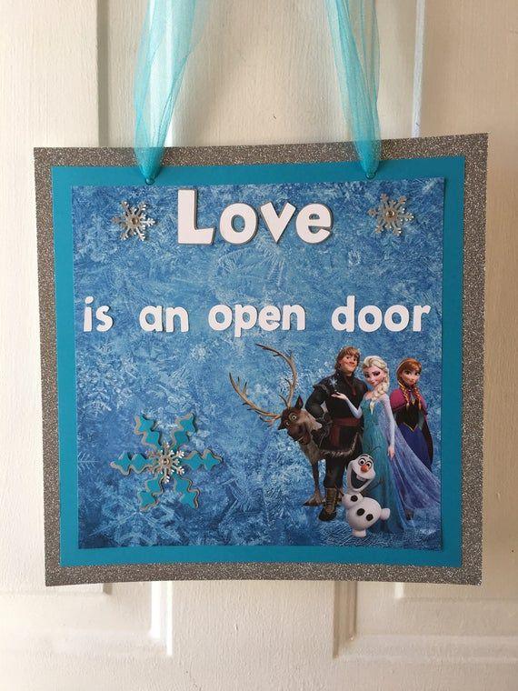 Love Is An Open Door Frozen Door Sign Frozen Birthday Party Etsy In 2020 Door Signs Christmas Door Decorating Contest Door Wreaths Diy