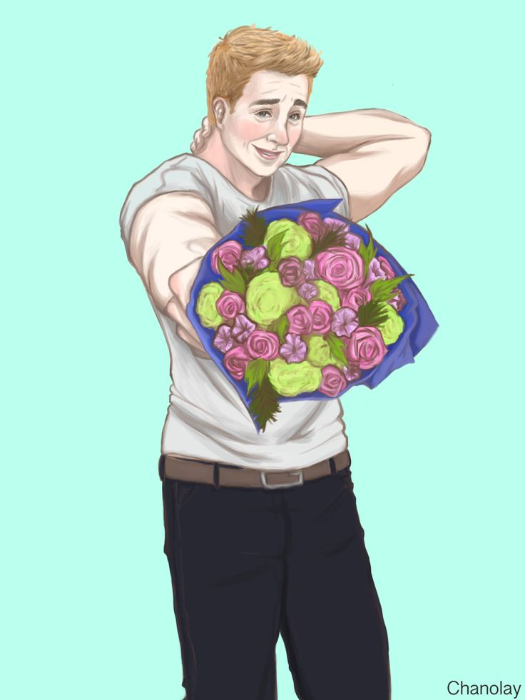 "chanolay: "" """"Flowers for the doll that's always on my mind. Thank you for being you."" "" This is for @spacenerdevans who I wanted to cheer up by drawing her a sappy picture of Steve/Chris. She's a beautiful person and runs a top quality blog that..."
