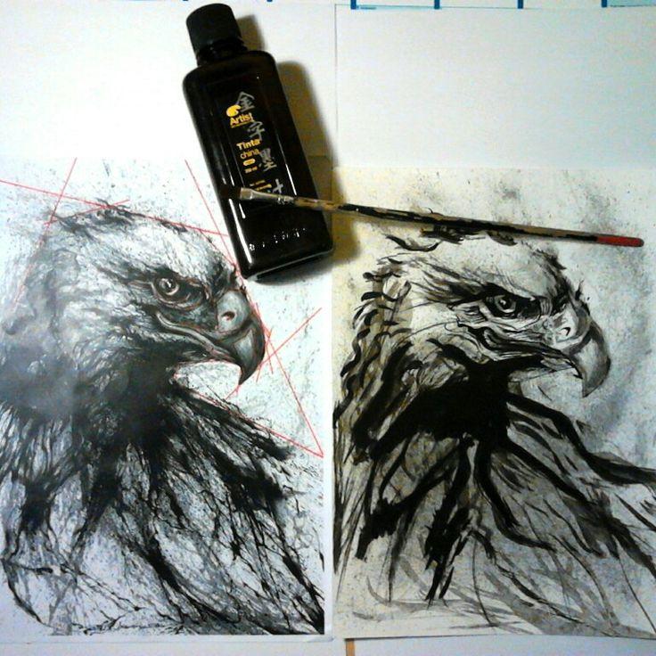 Águila - tinta china, tecnica de salpicado y a pincel