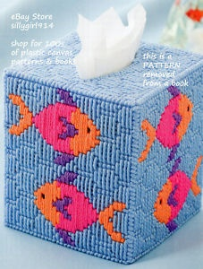 "Plastic Canvas Tissue Holder Patterns | Tropical Fish Tissue Box Cover"" Plastic Canvas Pattern 