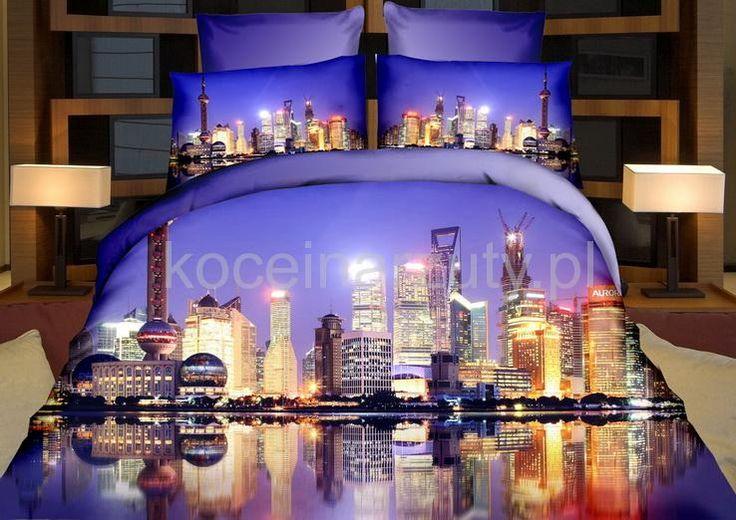 Pościel z bawełny satynowej w kolorze fioletowym z lustrzanym odbiciem wieżowców