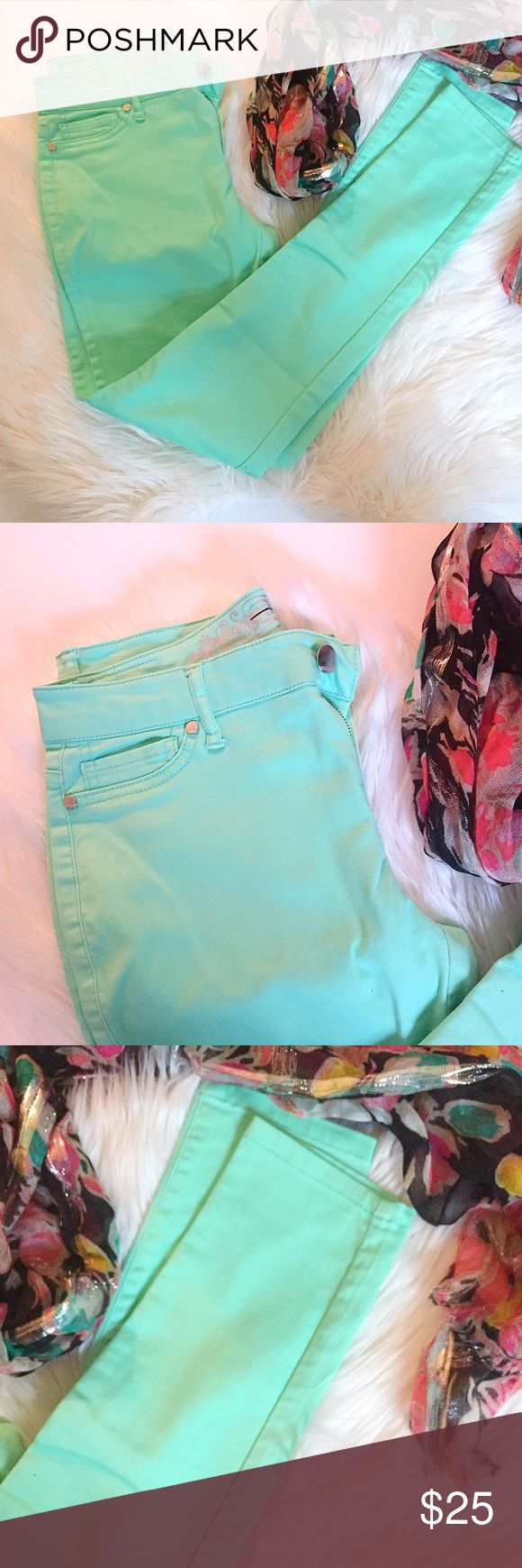 Express Mint Colored Skinny Jeans Like new colorful skinny denim pants from Express. Beautiful vibrant mint color. Never been worn. Line through label to indicate overstock purchase. Perfect condition. Express Pants Skinny
