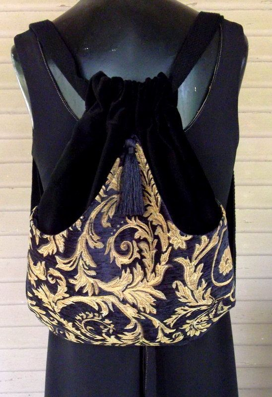 Black and Rich Gold  Tapestry Backpack Chenille Boho Backpack  Tapestry Backpacks  Sling Bag  TApestry Book Bag