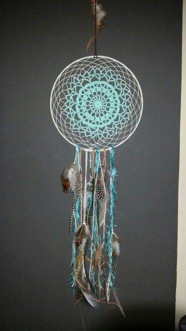 My first diy dreamcatcher. Made the center of a crochet doily. Not perfect but a nice start. I like it!