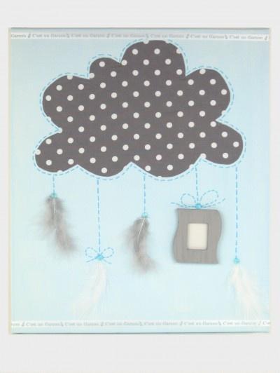 Tableau naissance garçon nuage   www.atelierfleurdemai.fr