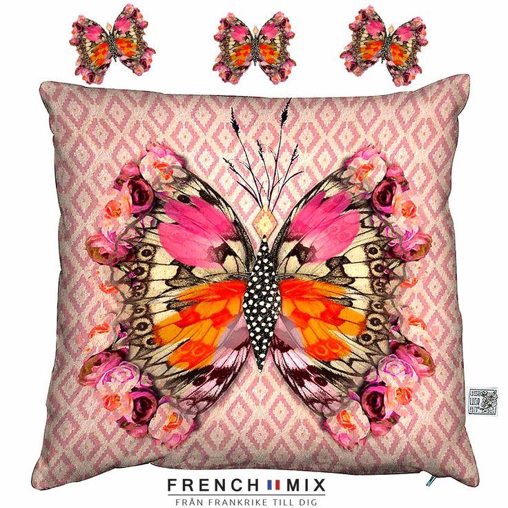 Gillar du fjärilar? Originell kudde i Fransk design från Laissez Lucie faire. Designad och tryck i Frankrike. 50%polyester 50%bomull