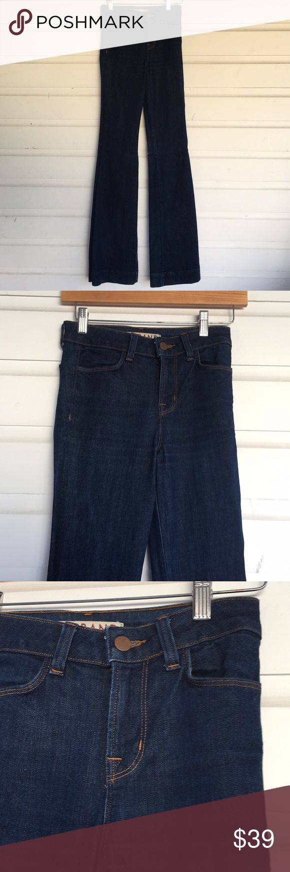 "J Brand The Doll High Rise Bell Jean Indigo Blue J Brand The Doll High Rise Bell Bottom Jean Indigo Blue, 4 pockets, made in CA USA Approx 9.5"" rise, 35"" inseam, Cotton/Elasterall blend. Light wear at hem. Offers always warmly received. J Brand Jeans Flare & Wide Leg"