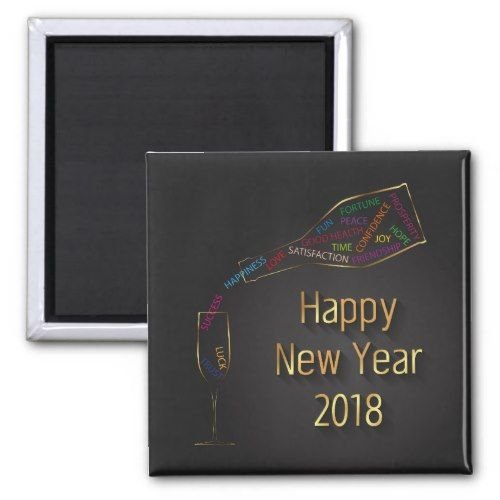 New Year 2018 Champagne Bottle Glass - Magnet