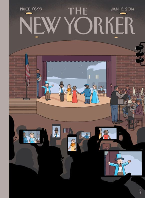 """All together now. New Yorker Cover and post by Chris Ware. """"Steve Jobs, along with whatever else we're crediting to him, should be granted the patent on converting the universal human gesture for trying to remember something from looking above one's head to fumbling in one's pants pocket."""" Para ir a la noticia click Aquí."""