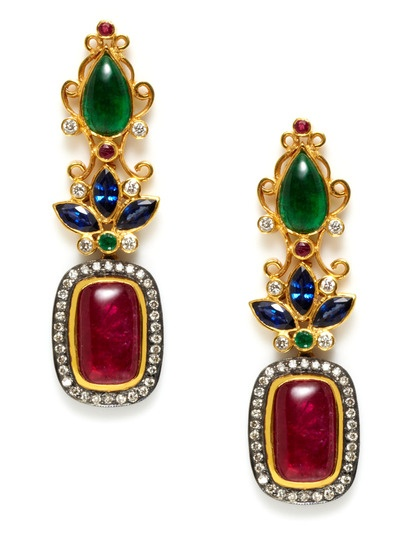 Amrapali Sapphire & Emerald Floral Filigree Earrings