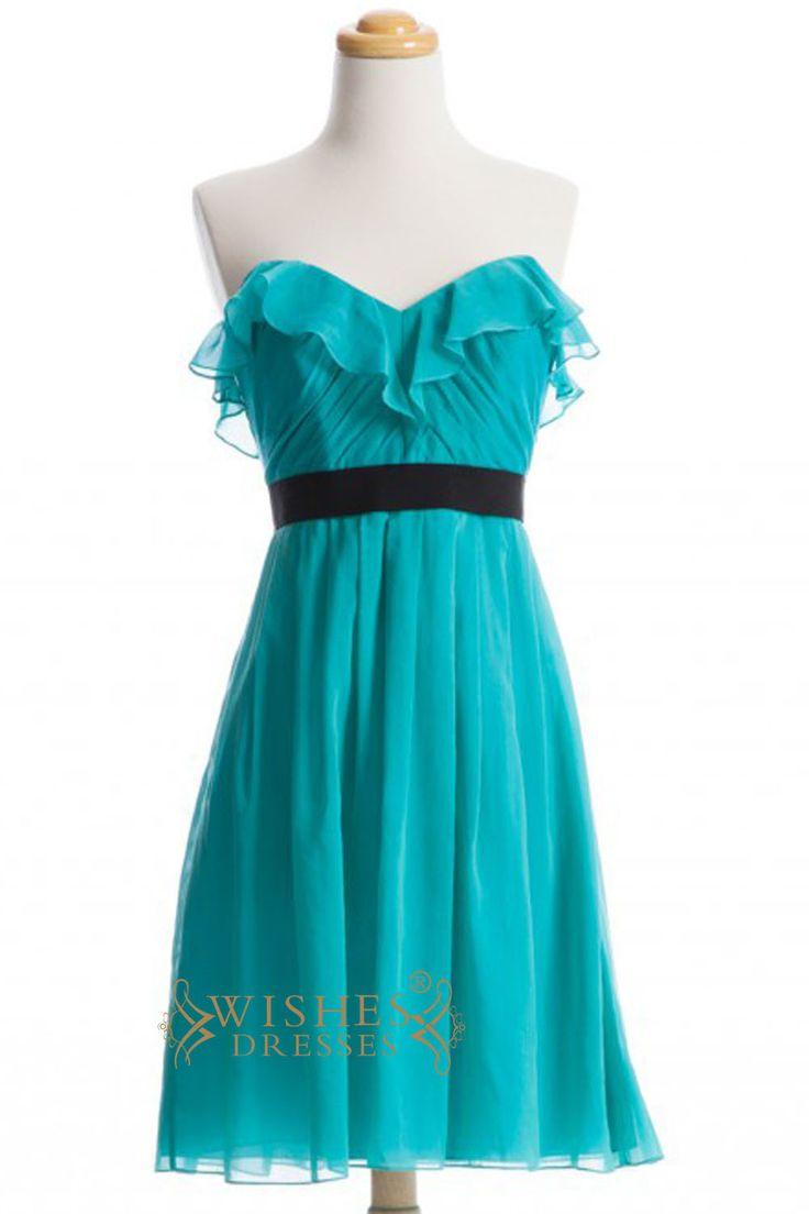 2015 A-line Turquoise Chiffon Short Bridesmaid Dresses AM276
