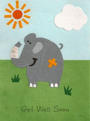 "Our ""Get Well Elephant"" card is lovingly handcrafted in Rwanda by young people who have been orphaned by genocide or disease. All the paper is handmade from local Rwandan office waste, making it envir"