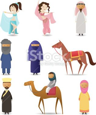 Arab people character collection Royalty Free Stock Vector Art Illustration