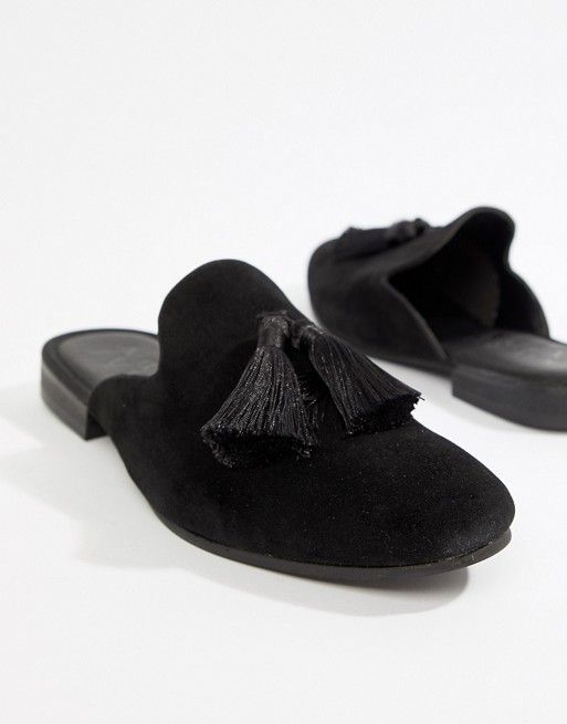 boohooMAN backless loafer with tassels