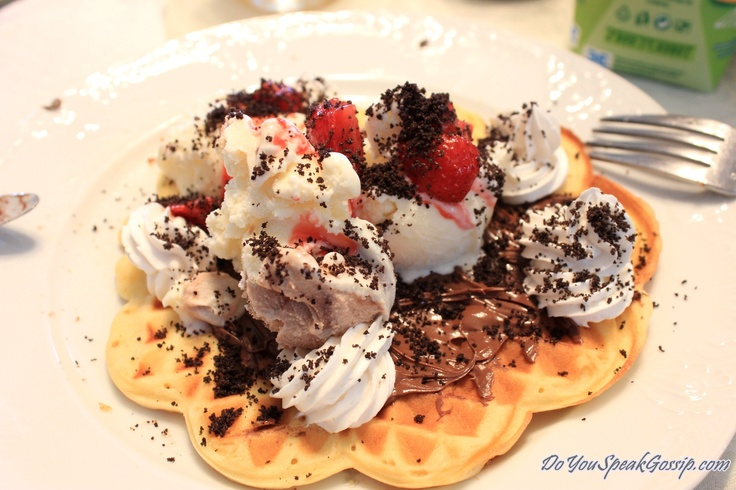 Homemade waffles with nutella, whipped cream, ice cream, strawberries, and Oreo cookie crumbs from our brunch today! - DoYouSpeakGossip.com