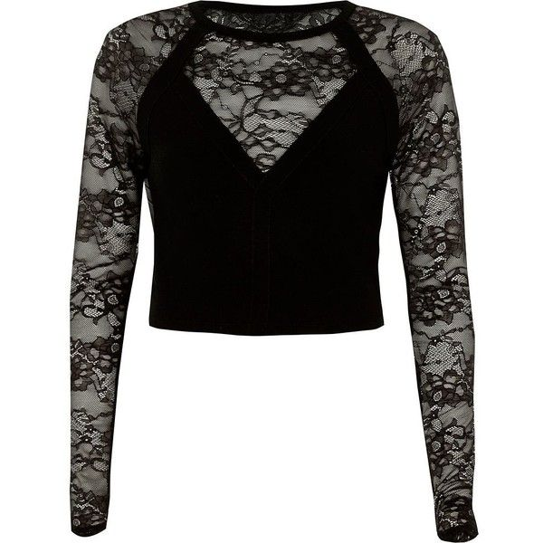 River Island Black lace insert long sleeve fitted top ($90) ❤ liked on Polyvore featuring tops, black, knitted tops, knitwear, women, bralet tops, overlay top, fitted tops, tall tops and long sleeve tops