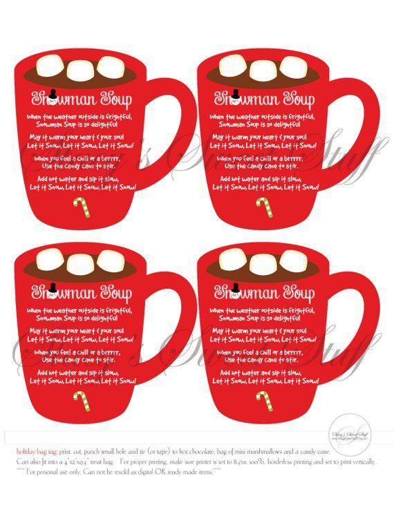 Snowman Soup Tag, Holiday Tag, Hot Chocolate Tag, Christmas Tag